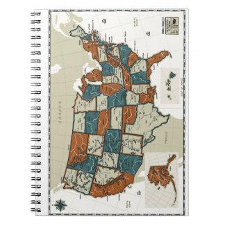 USA - Vintage Map Notebook
