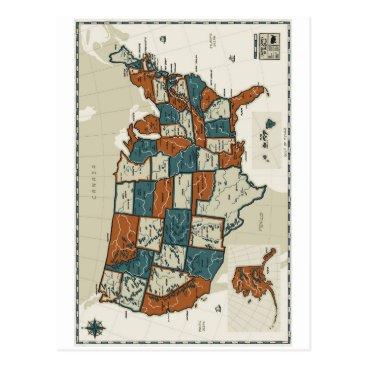 USA Themed USA - Vintage Map Postcard