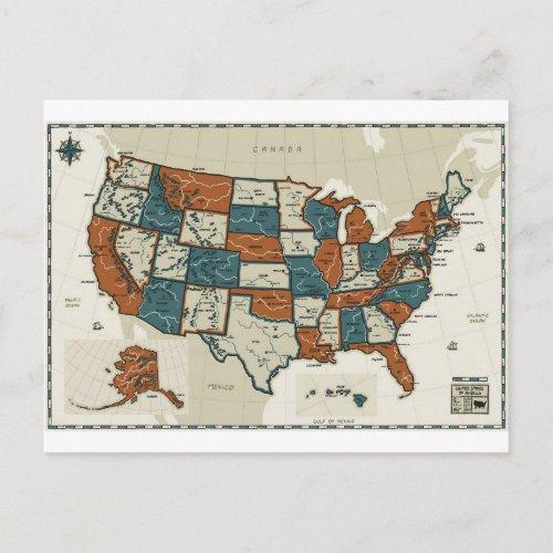USA _ Vintage Map Postcard
