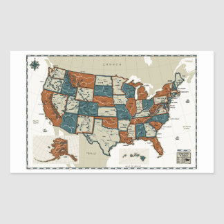 USA - Vintage Map Rectangle Stickers