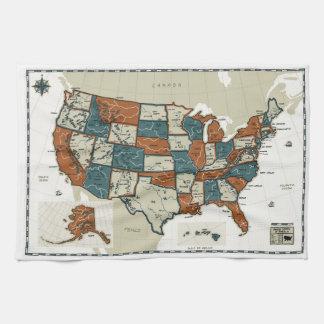 USA - Vintage Map Towels