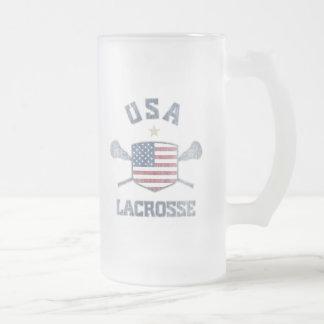 USA-Vintage 16 Oz Frosted Glass Beer Mug