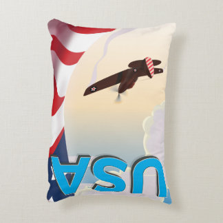 USA Vintage World War Two Poster Accent Pillow