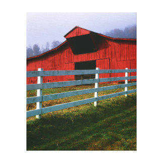 USA, Virginia, Scott County. Red Barn Stretched Canvas Print
