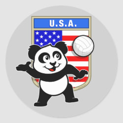 Round Sticker with USA Volleyball Panda design