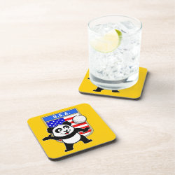 Beverage Coaster with USA Volleyball Panda design