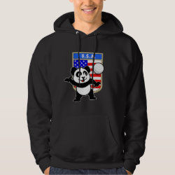 Men's Basic Hooded Sweatshirt with USA Volleyball Panda design