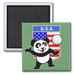 Square Magnet with USA Volleyball Panda design