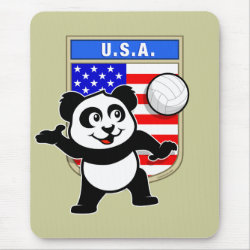Mousepad with USA Volleyball Panda design