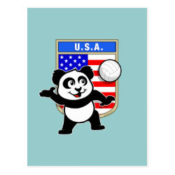 Postcard with USA Volleyball Panda design