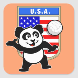 Square Sticker with USA Volleyball Panda design