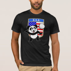 Men's Basic American Apparel T-Shirt with USA Volleyball Panda design