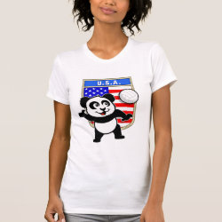 Women's American Apparel Fine Jersey Short Sleeve T-Shirt with USA Volleyball Panda design