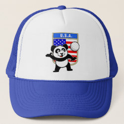 Trucker Hat with USA Volleyball Panda design