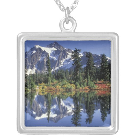 USA, WA, Heather Meadows RA. Mount Shuksan at Silver Plated Necklace