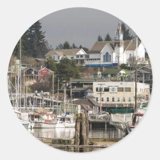 USA, Wa, Kitsap Peninsula. Scenic Town. Classic Round Sticker