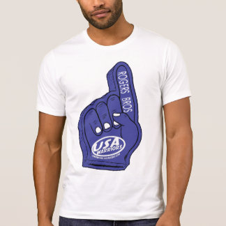 usa warriors foam hand by rogers brothers t shirt