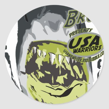 USA Themed usa warriors shark by rogers bros classic round sticker