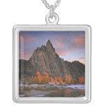 USA, Washington, Cascade Mountains.  Prusik Peak Square Pendant Necklace