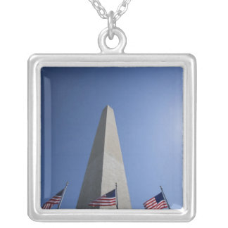 USA, Washington, D.C. American flags at the Silver Plated Necklace
