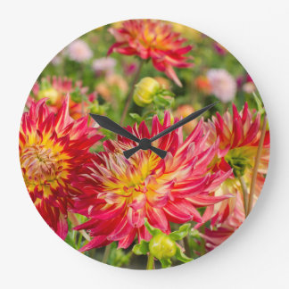 USA, Washington. Dahlia Flowers In Garden Clock