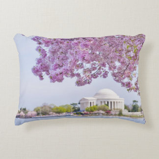 USA, Washington DC, Cherry tree in bloom Decorative Pillow