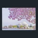 "USA, Washington DC, Cherry tree in bloom Placemat<br><div class=""desc"">USA,  Washington DC,  Cherry tree in blossom with Jefferson Memorial in background</div>"