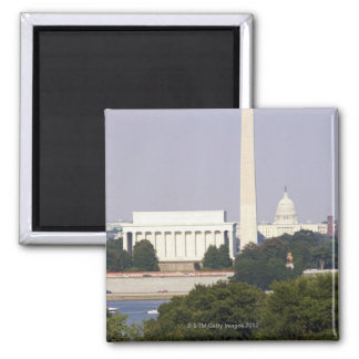 USA, Washington DC, Washington Monument and US 2 Inch Square Magnet