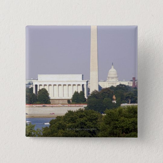 USA, Washington DC, Washington Monument and US Button