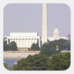 USA, Washington DC, Washington Monument and US Square Sticker