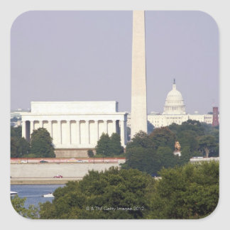 USA Washington DC Washington Monument and US Square Sticker