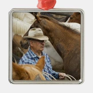 USA, Washington, Malaga, Cowboy foreman on Metal Ornament