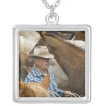 USA, Washington, Malaga, Cowboy foreman on Silver Plated Necklace