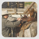 USA, Washington, Malaga, Cowboy preparing for Stickers