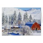 USA, Washington, Methow Valley, Barns in Card
