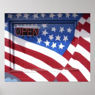 USA, Washington, Moses Lake. Flag wall mural on Poster