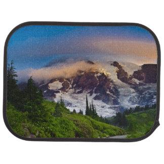 USA, Washington, Mt. Rainier. Morning sun Car Floor Mat