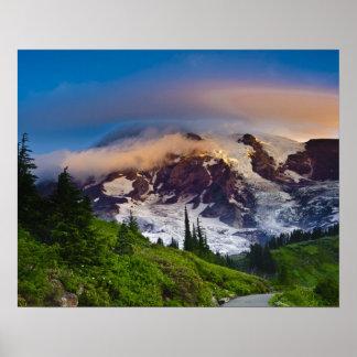 USA, Washington, Mt. Rainier. Morning sun Poster