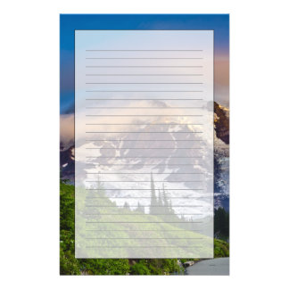 USA, Washington, Mt. Rainier. Morning sun Stationery