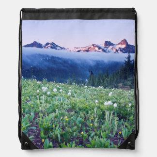 USA, Washington, Mt. Rainier National Park 4 Drawstring Backpack