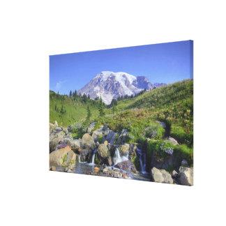 USA, Washington, Mt. Rainier NP, Mt. Rainier and 2 Canvas Print