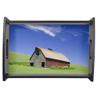 USA, Washington, Old Red Barn in the Spring Service Tray