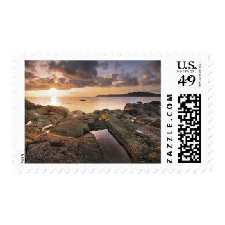 USA, Washington, San Juan Islands.  A dramatic 2 Postage Stamps