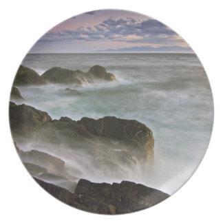 USA, Washington, San Juan Islands.  Waves crash Melamine Plate