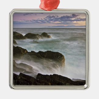 USA, Washington, San Juan Islands.  Waves crash Metal Ornament