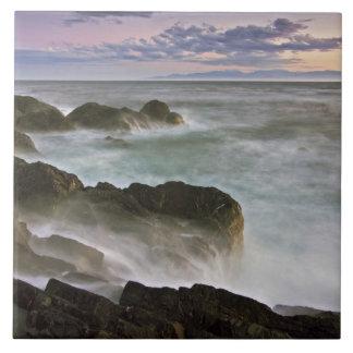 USA, Washington, San Juan Islands.  Waves crash Ceramic Tile