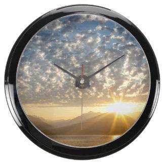 USA, Washington, Seabeck. Sunset Aqua Clock