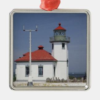 USA, Washington, Seattle, Alki Point Lighthouse, 2 Christmas Ornaments