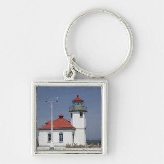 USA, Washington, Seattle, Alki Point Lighthouse, 2 Silver-Colored Square Keychain