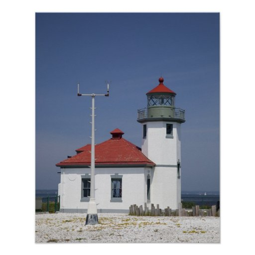 USA, Washington, Seattle, Alki Point Lighthouse, Poster